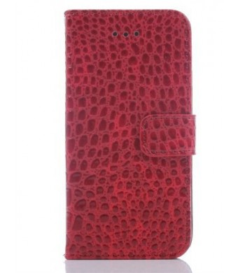 Idol iPhone 6 4.7 Crocodile Fashion All-match Protective Cell Phone Case Cover Credit ID Holder Money Pockets and Detachable for Apple Case (Red)