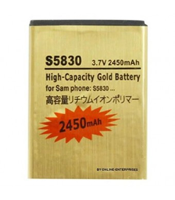 2450mAh High Capacity Gold Battery for Samsung Galaxy Ace S5660 / S5670 / S6500 / S7500 / I569 / I579 / S5838 / S5830 by Online-Enterprises