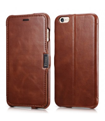 iPhone 6 Plus Case, Benuo [Vintage Classic Series] [Genuine Leather] Folio Flip Corrected Grain Leather Case [Card Slot] [Stand Feature] with Magneti