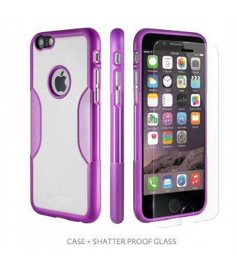iPhone 6 Case, Purple White With [Tempered Glass Screen = Best LCD Protector] [Patented Lens Hood = Better Pictures] - Slim iPhone 6 Case Saffron Pur