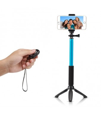 Accmor Rhythm Pro Bluetooth Selfie Stick Monopod with Tripod Stand for iPhone Android Phone and GoPro Hero Video Camera (Sky Blue)