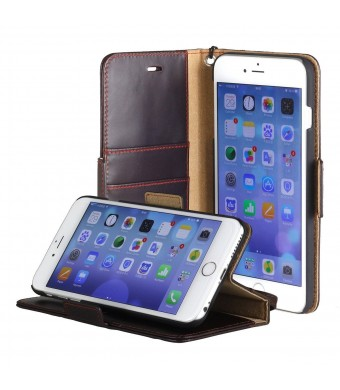"""iPhone 6 Plus case, ACEABOVE [Stand Feature] iPhone 6 Plus 5.5""""  Wallet Case **NEW** [Book Cover Case] - Premium Genuine Leather Wallet Cover with ST"""