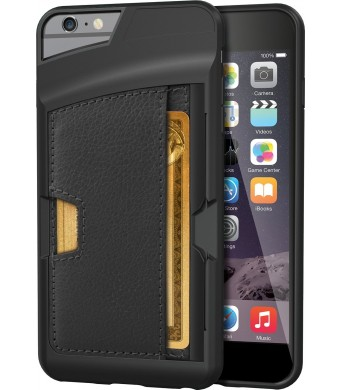 """iPhone 6 Plus Wallet Case - Q Card Case for iPhone 6 Plus (5.5"""" ) by CM4 - Ultra Slim Protective *Kickstand* Credit Card Carrying Case (Black Onyx)"""