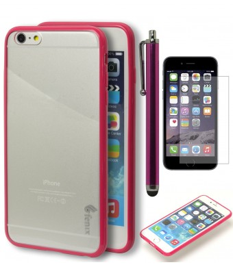 iPhone 6 Plus Case, Fenix Full-Body Protection Heavy Duty Case - Hot Pink Bumper Flexible Cushion (Rubberized TPU) Full Button Protection for Apple i