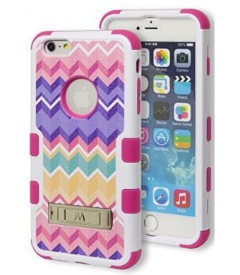 iPhone 6 Plus Case, Bastex Heavy Duty Hybrid Protective Kickstand Case - Soft Hot Pink Silicone Cover with Multicolored Chevron Design Kickstand Hard