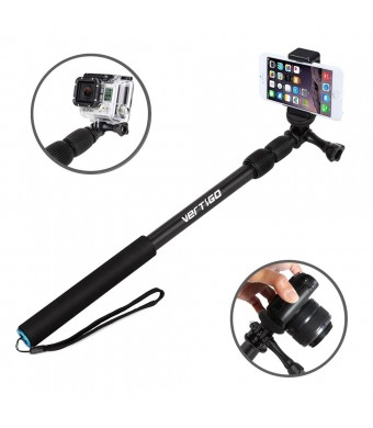 Selfie Stick, VertiGo Extendable 3-in-1 Monopod Pole - Universal Compatibility with GoPro Hero, iPhone 6 6 Plus + 5, Galaxy Android Cell Phones, Came