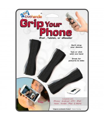 LoveHandle (originally SlingGrip) Value Pack 3 Black - As Seen On TV - Love Handle Universal Grip For Mobile Devices (SmartPhones, Tablets, MP3 Playe
