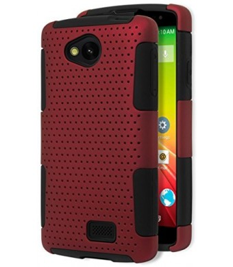 LG Tribute Case, Bastex Heavy Duty Hybrid Protective Case - Soft Black Silicone Cover with Red Protective Mesh Shell Case for LG Tribute LS660