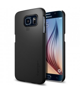 Galaxy S6 Case, Spigen [Exact-Fit] Galaxy S6 Case Slim **NEW** [Thin Fit] [Smooth Black] Premium Matte Finish Hard Case for Galaxy S6 (2015) - Smooth