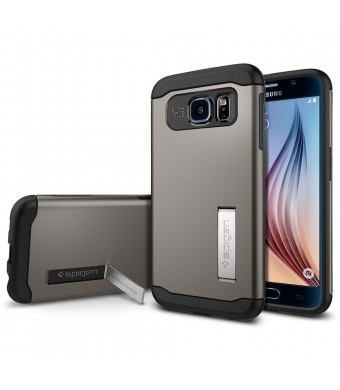 Galaxy S6 Case, Spigen [AIR CUSHION] Slim Armor Case [KICK-STAND] for Samsung Galaxy S6 - Gunmetal (SGP11330)