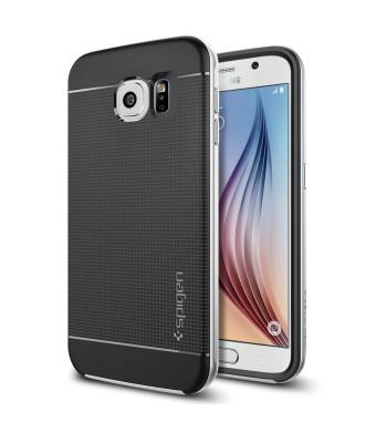 Galaxy S6 Case, Spigen [METALLIZED BUTTONS] Neo Hybrid Series Case for Samsung Galaxy S6 [BUMPER STYLE CASE] - Retail Packaging - Satin Silver (SGP11