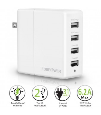 FosPower (31W / 6.2A) 4-Port USB Rapid Foldable Plug Travel Wall Charger Adapter [2.4A Max WizCharge Output] Full Speed Charging for Apple iPhone / i