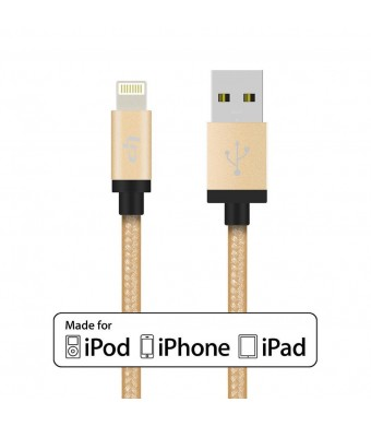 [Apple MFi Certified] LP 3.3 Feet / 1 m Cloth Jacketed / Ruggedized USB 2.0 A to 8 Pin Apple Lightning Cable with Aluminium Housing Connector Head fo