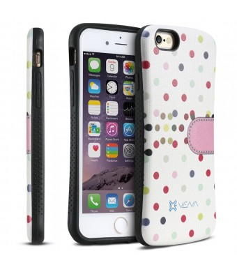 "iPhone 6 Plus Case - VENA [ARCH] Polka Dot Hybrid Case Hard Shell Cover for Apple iPhone 6 Plus (5.5"" ) - White / Pink"