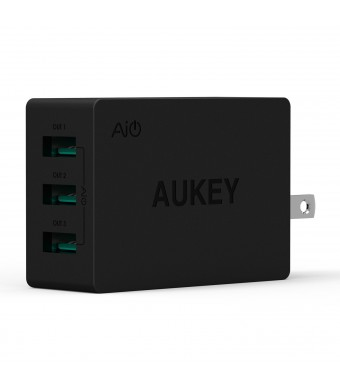 Aukey 24W / 4.8A USB Travel Wall Charger Adapter with AlPower Tech (Foldable Plug with 3 Ports) for Apple, Android and other USB Powered Mobile Devic