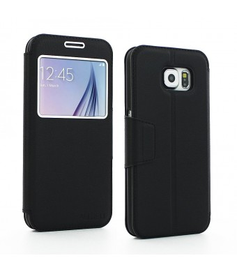 aLLreLi Samsung Galaxy S6 Case Ultra Slim with View Window [Black] Premium Leather (PU) Pouch Book Protective Holster Magnetic Folio Flip Cover Case