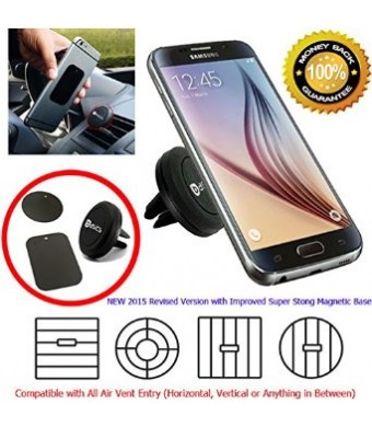 AccessoryBasics 2015 Revised Universal Super Strong Magnetic Air Vent Car Mount Holder for the Galaxy S6/ S6 Edge, Apple iPhone 6 6 Plus, iPhone 5S 5