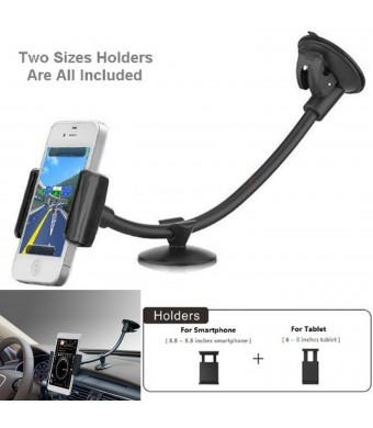 Rerii Universal Smartphone and tablet Windshield Dashboard Car Mount Holder, Fits all Gadgets Width Between 2.2-5.5 inches or Diagonal Screen Size Be