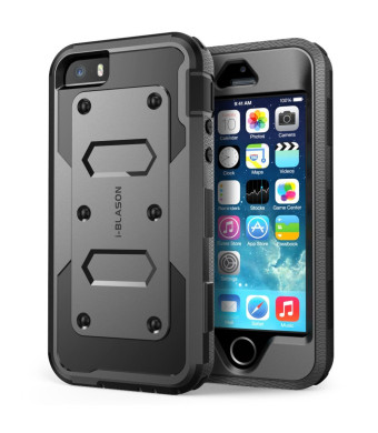 iPhone 5S Case, [Heave Duty] **Slim Protection** i-Blason Armorbox [Dual Layer] Hybrid Full-body Protective Case with Front Cover and Built-in Screen
