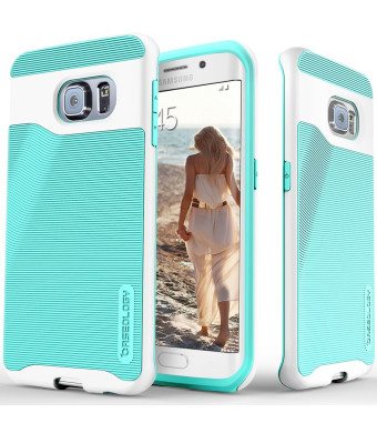 Galaxy S6 Edge case, Caseology [Wavelength Series] [Turquoise Mint] Textured Pattern Grip Cover [Shock Proof] Samsung Galaxy S6 Edge case