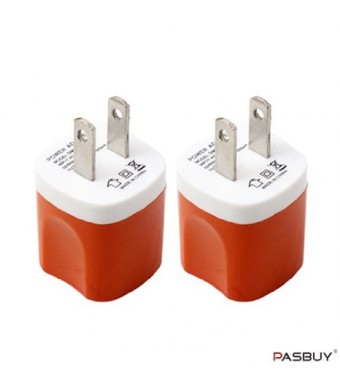 PASBUY W2/Orange 2 Sets of Universal USB AC Wall Chargers For Apple, Samsung, Htc, Motorola, LG, Nokia, Sony Phones, MP3 GPS and Any Devices