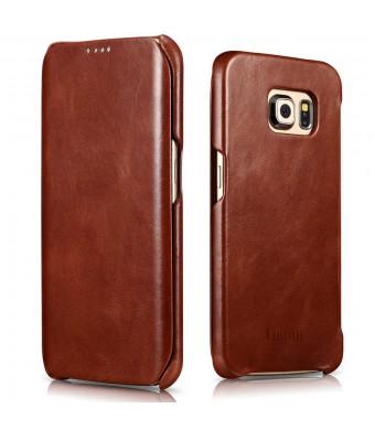 Galaxy S6 Edge Case, Benuo [Vintage Classic Series] [Genuine Leather] Flip Case Folio Cover [Ultra Slim] [Business Style], Premium Corrected Grain Le
