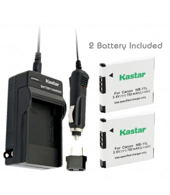 Kastar Battery (2-Pack) and Charger Kit for Canon NB-11L, CB-2LD, CB-2LF work with Canon PowerShot A2300 IS, A2400 IS, A2500, A2600, A3400 IS, A3500