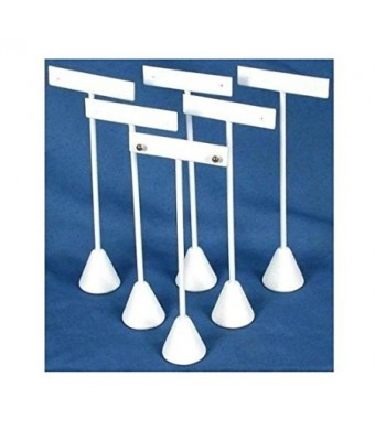 """6 Earring T Stand White Leather Showcase Display 6.75"""""""