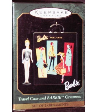 Hallmark Keepsake Ornament - Travel Case and Barbie Ornament (1999) Set of 2 Ornaments (QXI6129)