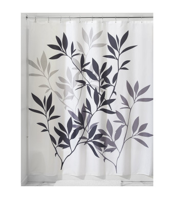 InterDesign Leaves Shower Curtain, Black and Gray, 72-Inch by 72-Inch