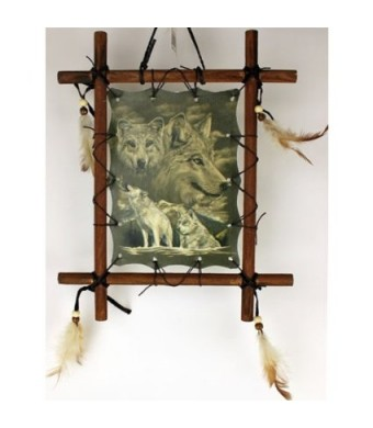 1 X Framed Indian WOLVES Picture Native American Art 9 x 11 (including frame) WOLF Reproduction