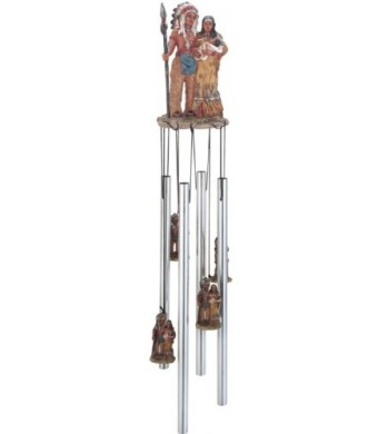 Wind Chime Round Top Native American Indian Family Hanging Decoration