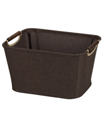 Household Essentials Small Tapered Storage Bin with Wood Handles, Coffee Linen