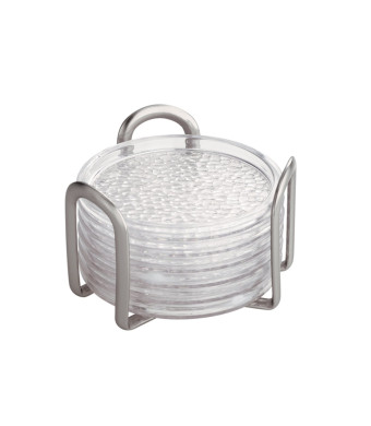 InterDesign Rain Coasters with Holder, Set of 6, Clear