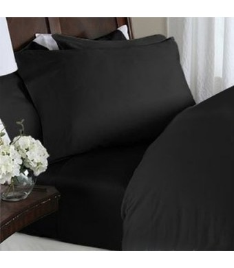 "Elegant Comfort  1500 Thread Count WRINKLE and FADE RESISTANT 4 pc Sheet set, Deep Pocket Up to 18""  - All Size and Colors , Queen Black"