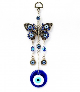 Blue Evil Eye with Butterfly Hanging Ornament for Protection-003