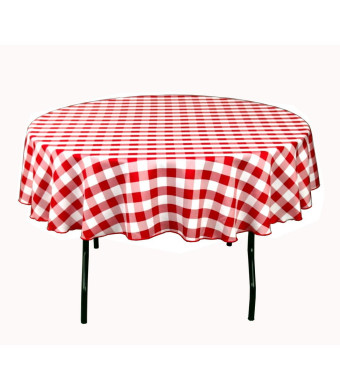 LinenTablecloth 70-Inch Round Polyester Tablecloth Red and White Checker