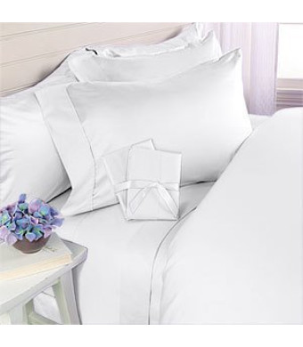 Elegant Comfort 4-Piece 1500 Thread Count Egyptian Quality Bed Sheet Sets with Deep Pockets, California King, White