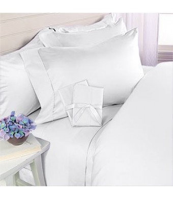 Elegant Comfort 1500 Thread Count Egyptian Quality 4-Piece Bed Sheet Sets, Queen, Deep Pockets, White