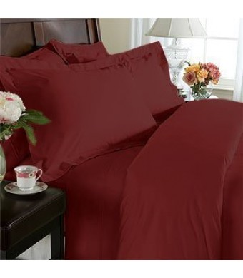 Elegant Comfort 1500 Thread Count Egyptian Quality 4-Piece Bed Sheet Sets, Queen, Deep Pockets, Burgundy