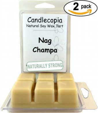 Nag Champa 6.4 oz Scented Wax Melts - Woody notes similar to patchouli, with touches of powder, musk, amber, and vanilla - 2-Pack of naturally strong
