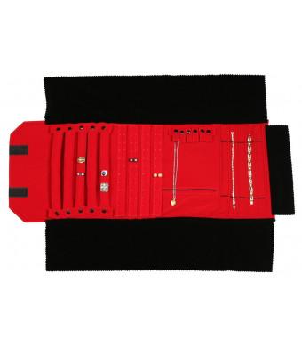 Premium Black Velvet Jewelry Necklace Bracelet Earrings Ring Case Combination Roll with Red Velvet Interior