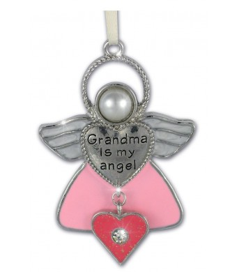 Grandma Angel Ornament -- Grandmother Angel with Pink Glitter Heart Charm and Rhinestone -- Grandma Is My Angel Engraved on Metal Heart -- Comes in a