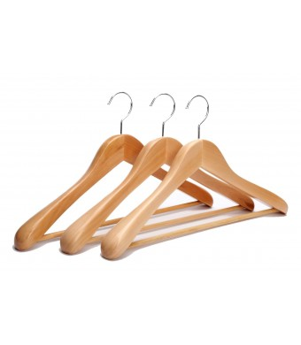 J.S. HangerExtra Wide Rounded Shoulders Wood Coat Hanger with Rib Bar Suit Hanger and Polished Chrome Hook, Natural Finish,3-pack
