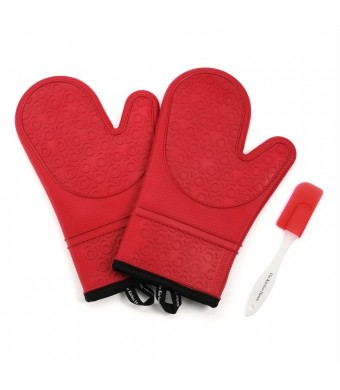 TKH Heat Resistant Silicone Oven Mitts, Soft Quilted Liner, 1 Pair, Red, Bonus Spatula