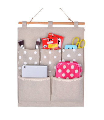 Home-Cube Linen/Cotton Fabric Wall Door Cloth Hanging Storage Bag Case 5 Pocket Home Organizer Gift (white polka dots)