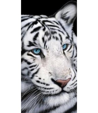 White Tiger Blue Eyes Terry Velour Beach Bath Towel