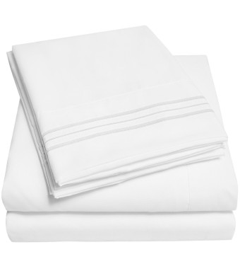 1500 Supreme Collection Bed Sheets - PREMIUM QUALITY BED SHEET SET and LOWEST PRICE, SINCE 2012 - Deep Pocket Wrinkle Free Hypoallergenic Bedding - Over 40+ Colors and Prints- 4 Piece, Queen, White