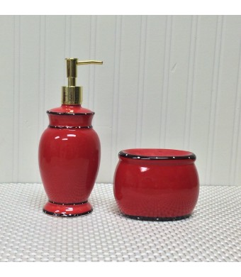 Tuscany Red Ruffle Hand Painted Ceramic, Scouring Brillo Pad Holder with Soap Dispenser, 85288/89 By ACK