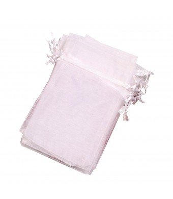 LBS drawstring Organza Jewelry Pouch Bags (White, 6X9'')